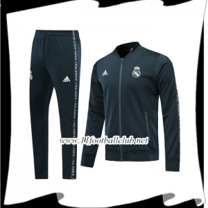 Le Nouveaux Ensemble Survetement de Foot - Veste Real Madrid Noir 2019/2020 Junior