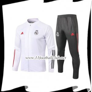 Nouveau Ensemble Veste Survetement Real Madrid Blanc 2020/2021