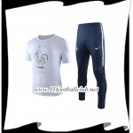 Le Nouveau Ensemble Training T-Shirts France + Pantalon Blanc 2019/2020 Officiel