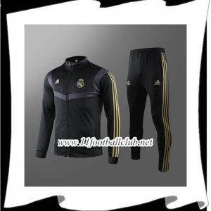 Le Nouveau Ensemble Veste Survetement Real Madrid Noir/Jaune 2019/2020
